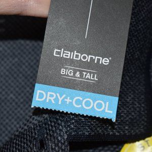 Claiborne Big & Tall 3XLT Navy Polo Shirt Dry Cool